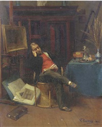 reading in the artist's studio by pierre (pieter) oyens