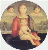 madonna and child with two cherubs in a landscape by pompeo di anselmo