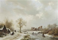 a winter landscape with figures on a path and skaters on a frozen waterway by barend cornelis koekkoek