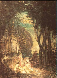 nymphs, pierrot and entourage gathering in a forest by louis mark nac