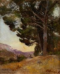 l'heure du berger, paysage provençal animé by paulin andre bertrand