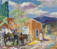 outskirts of santa fe, tethered mules by albert h. krehbiel