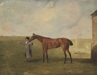 the hon. george watson's neva held by a groom, at newmarket by benjamin marshall