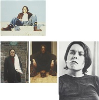 divine, got a salmon on #3, self portraits with skull and fighting fire with fire (4 works from self-portraits) by sarah lucas