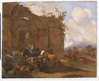 landscape with classical ruins and a blacksmith by dirk langendyk
