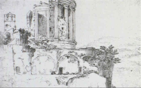 the temple of vesta at tivoli a faint panoramic landscape and a detail of a romanesque campanile by adriaen lossenbruy honich