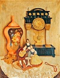 asztali csendélet órával és porcelánokkal by sandór basilides