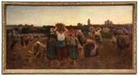 le rappel des galneuses (calling in the gleaners) by jules breton