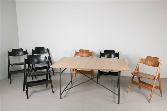 zeichentisch mit sechs klappstühlen se 18 set of 7 by egon eiermann