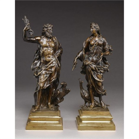 figures of jupiter and juno pair by michel anguier