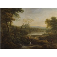 river landscape with bridge and hilltop castle by george lambert