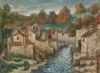 river running through a french town by francois angiboult