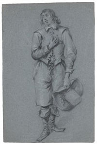 a standing man, holding his hat by jacob duck