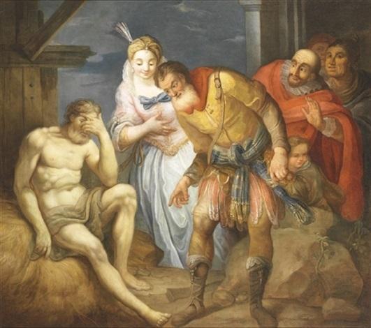 mytologisk sceneri med fornem kvinde og fem mænd i landskab by andrea celesti