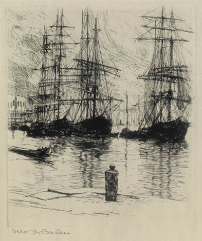 three ships venice by otto henry bacher