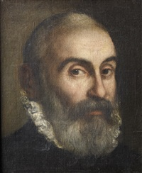 portrait of a bearded man, bust-length, in black costume with a white lace ruff by leandro da ponte bassano