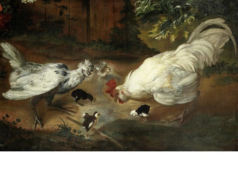 a hen, cockerel and chicks in a farmyard by giovanni agostino (abate) cassana