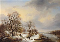 a winter landscape with hunters on a path by louis pierre verwee