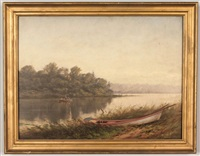 east tennessee river scene (with fishermen in boat and landscape) by thomas campbell