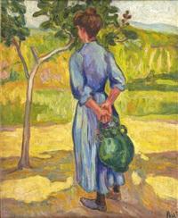 femme à la cruche (environs de collioures) by jean misceslas peské