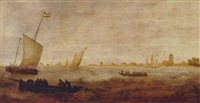 sailors in a rowing boat with smalschips off a coastline by hendrick van anthonissen