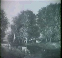 herder watering cows in a stream by james lawson constable