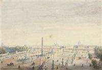 vue de la place de la concorde à paris (+ vue d'un square avec une fontaine à paris; 2 works) by gaspar gabaut