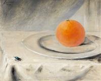 stillleben mit orange und insekt by andré jean evard