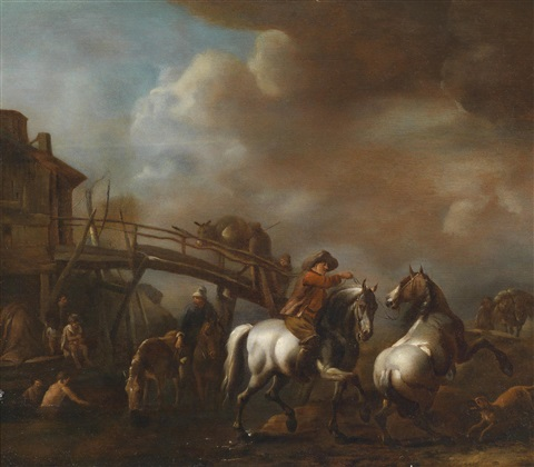 pferde in der schwemme by philips wouwerman