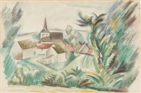 un paysage de bourgogne (vic-sous-thil en côte d'or) by andré lhote