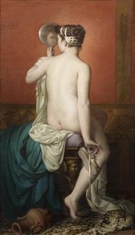 jeune femme de dos après sa toilette by françois barthélemy marius abel