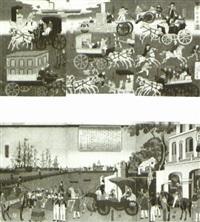 tôkyô ôrai kuruma zukushi (ôban triptych; + 2 triptychs; 3 works) by utagawa yoshitora