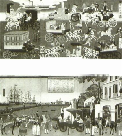 tôkyô ôrai kuruma zukushi ôban triptych 2 triptychs 3 works by utagawa yoshitora