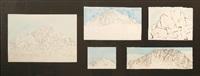 hanging rock (study) (5 works in 1 frame) by robert jacks