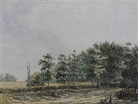 landscape with peasants near a farm, a cornfield and woods behind by franciscus andreas milatz