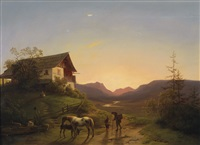 abendstimmung vor weiter landschaft mit pferden by ignaz raffalt