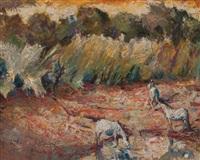 waterbuck and zebras by zakkie (zacharias) eloff
