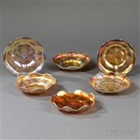 tiffany studios gold favrile dishes (6 works) by tiffany studios