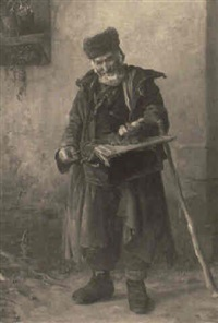 an old man with a box and staff by carl maria seyppel