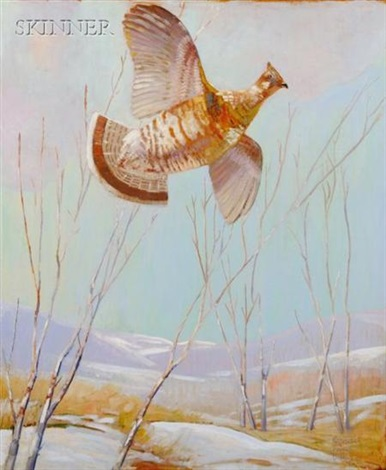 ruffled grouse in flight by reginald f bolles