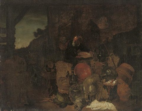 a cook and two kitchen boys in a yard by giovanni domenico valentino