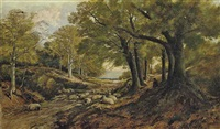 a shepherd and his flock resting in a shady glen by frederick william hulme