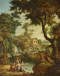 pastoral landscape with waterfall and a village in the background by giovanni battista innocenzo colombo