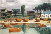 sainte marine (finistère), barques de pêcheurs à marée basse by bernard buffet