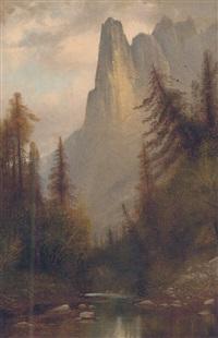 a rocky river landscape by henry arthur elkins