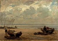 environs d'honfleur, bateaux échoués by eugène boudin