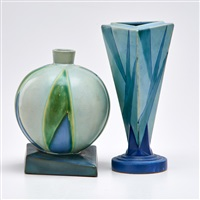 futura spherical vase foot and triangular vase (2 works) by roseville