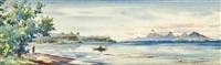 fisherman in a bay, tahiti by william a. macdonald