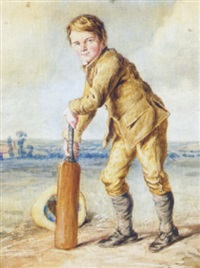 a boy playing cricket by octavius oakley