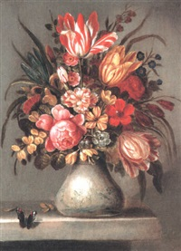 still life of tulips, roses and other flowers in a delft case by abraham bosschaert
